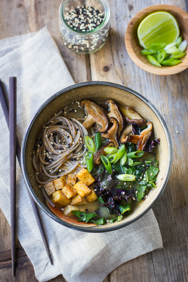 Miso and Soba Noodle Soup with Roasted Sriracha Tofu and Shiitake ...